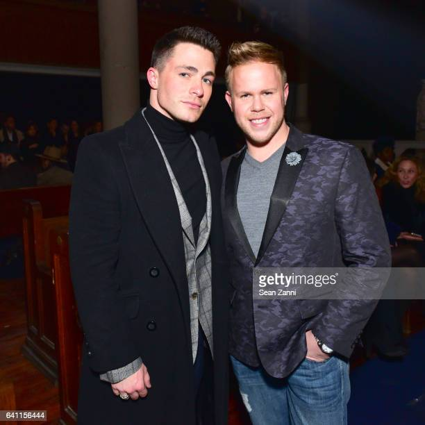 Colton Haynes and Andrew Werner attend Joseph Abboud Front Row NYFW Men's at Saint Stephens Church on January 30 2017 in New York City