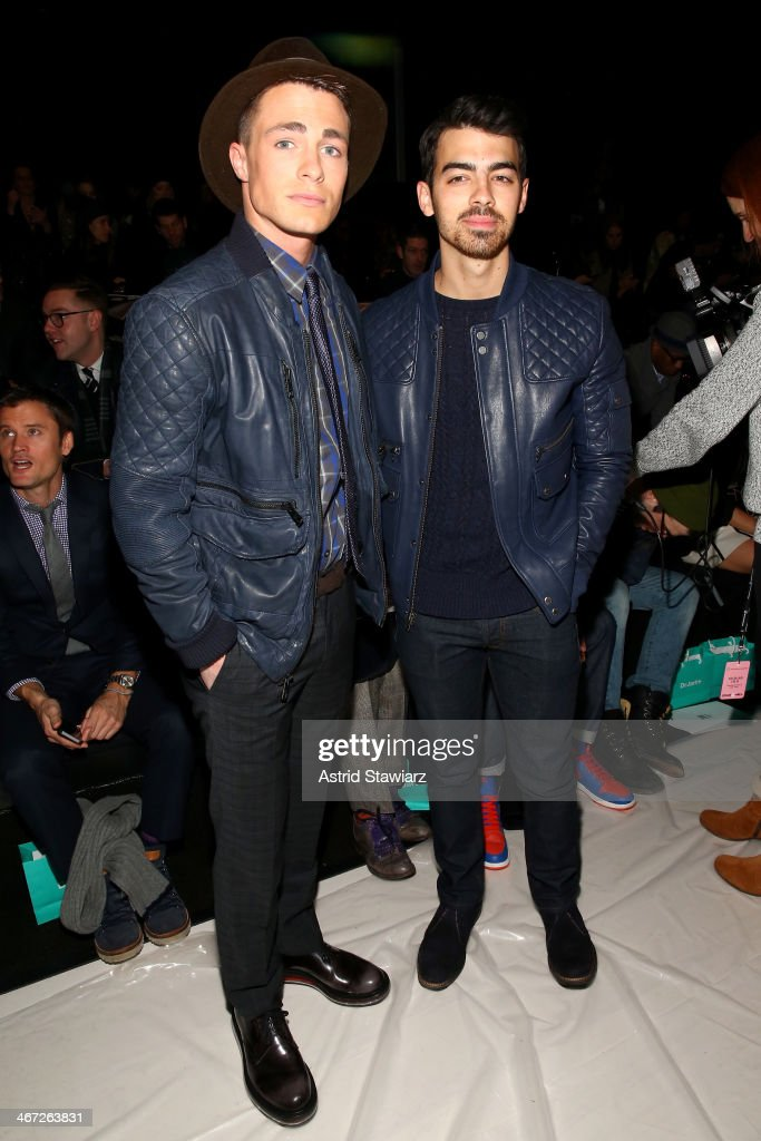 <a gi-track='captionPersonalityLinkClicked' href=/galleries/search?phrase=Colton+Haynes&family=editorial&specificpeople=4282136 ng-click='$event.stopPropagation()'>Colton Haynes</a> and <a gi-track='captionPersonalityLinkClicked' href=/galleries/search?phrase=Joe+Jonas&family=editorial&specificpeople=842712 ng-click='$event.stopPropagation()'>Joe Jonas</a> attend Richard Chai fashion show during Mercedes-Benz Fashion Week Fall 2014 at The Salon at Lincoln Center on February 6, 2014 in New York City.