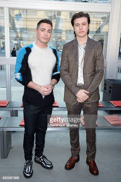 Colton Haynes and Nick Robinson attend the Louis Vuitton Menswear Fall/Winter 20172018 show as part of Paris Fashion Week on January 19 2017 in Paris...