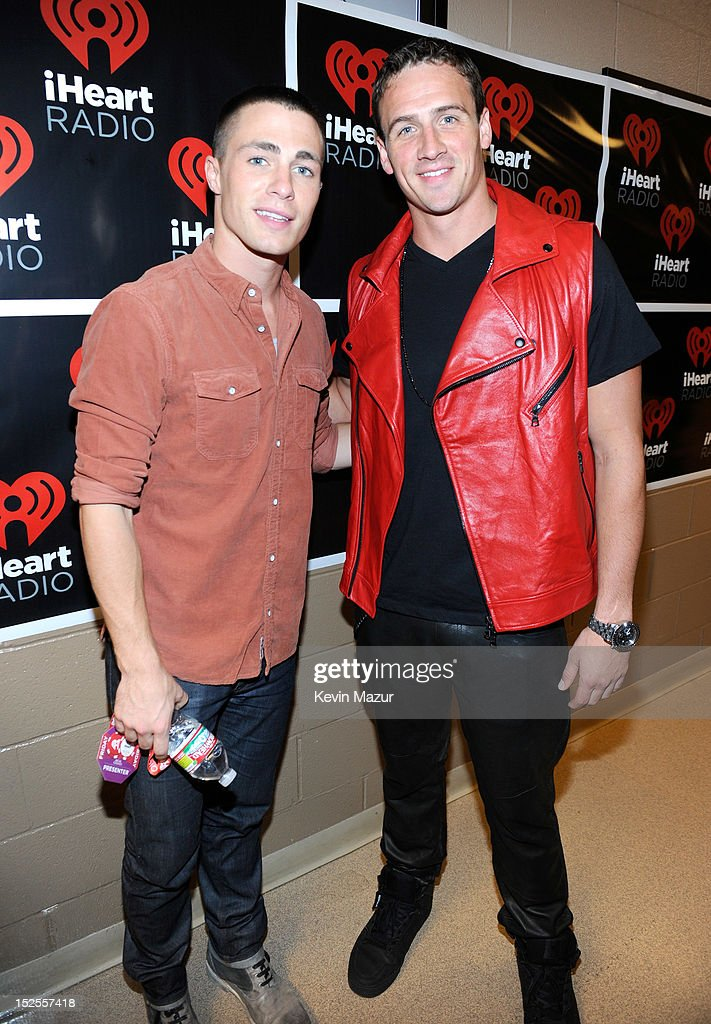 Colton Haynes and Ryan Lochte backstage during the 2012 iHeartRadio Music Festival at MGM Grand Garden Arena on September 21, 2012 in Las Vegas, Nevada.