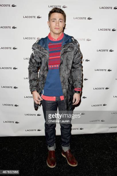 Colton Haynes poses backstage at the Lacoste fashion show during MercedesBenz Fashion Week Fall 2014 at The Theatre at Lincoln Center on February 8...