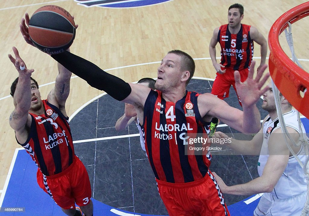 <a gi-track='captionPersonalityLinkClicked' href=/galleries/search?phrase=Colton+Iverson&family=editorial&specificpeople=5663882 ng-click='$event.stopPropagation()'>Colton Iverson</a>, #4 of Laboral Kutxa Vitoria in action during the Turkish Airlines Euroleague Basketball Top 16 Date 10 game between Nizhny Novgorod v Laboral Kutxa Vitoria at Cec Nagorny on March 12, 2015 in Nizhniy Novgorod, Russia.