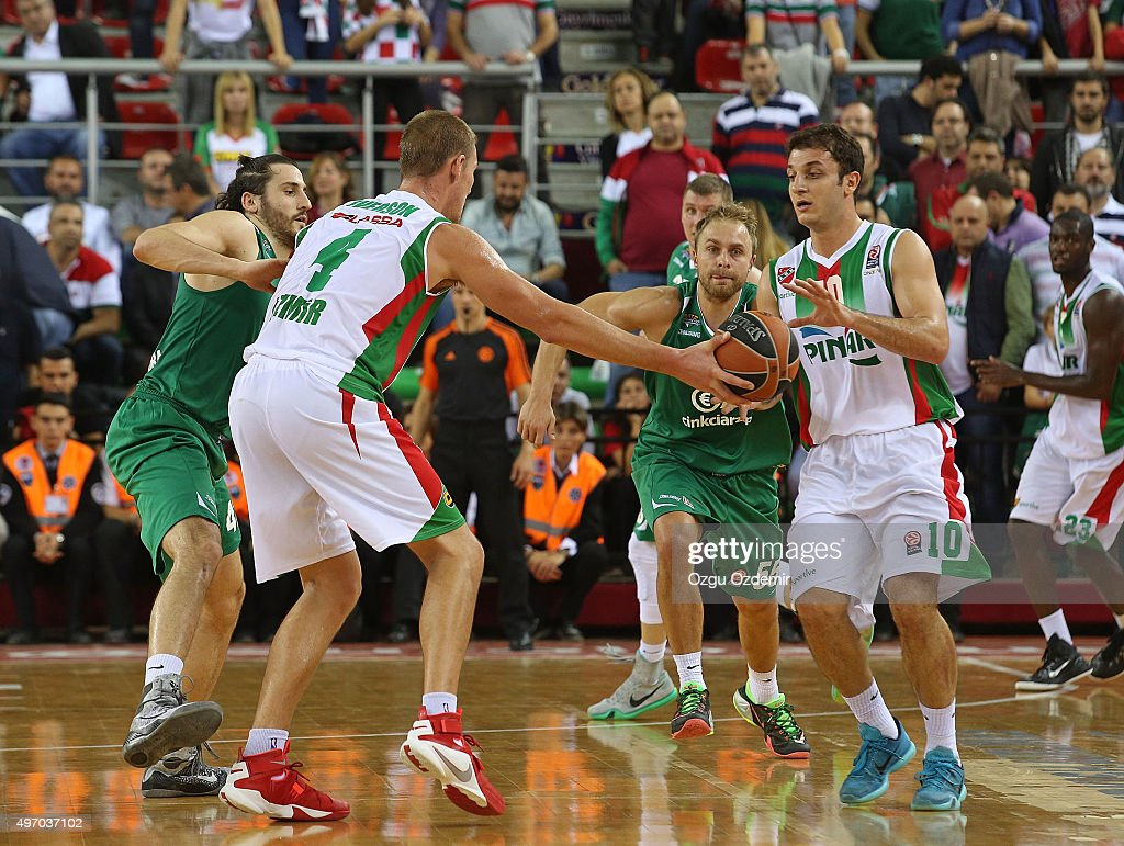 <a gi-track='captionPersonalityLinkClicked' href=/galleries/search?phrase=Colton+Iverson&family=editorial&specificpeople=5663882 ng-click='$event.stopPropagation()'>Colton Iverson</a>, #4 of Pinar Karsiyaka Izmir competes with Can Altinting, #10 of Pinar Karsiyaka Izmir during the Turkish Airlines Euroleague Regular Season date 5 game between Pinar Karsiyaka Izmir v Stelmet Zielona Gora at Karsiyaka Arena on November 13, 2015 in Izmir, Turkey.