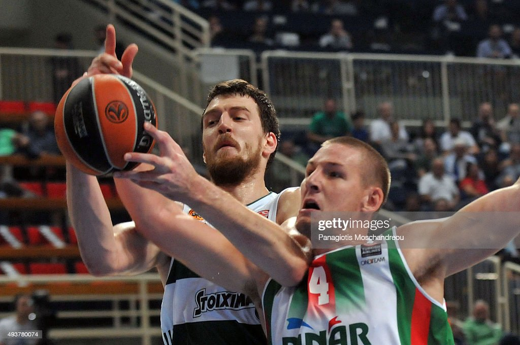 <a gi-track='captionPersonalityLinkClicked' href=/galleries/search?phrase=Colton+Iverson&family=editorial&specificpeople=5663882 ng-click='$event.stopPropagation()'>Colton Iverson</a>, #4 of Pinar Karsiyaka Izmir competes with Ognjen Kuzmic, #21 of Panathinaikos Athens during the Turkish Airlines Euroleague Regular Season date 2 game between Panathinaikos Athens v Pinar Karsiyaka Izmir at Olympic Sports Center Athens on October 22, 2015 in Athens, Greece.