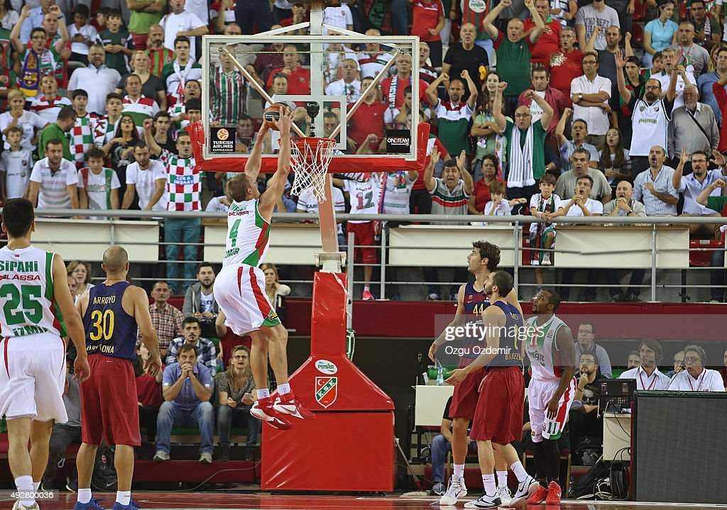 <a gi-track='captionPersonalityLinkClicked' href=/galleries/search?phrase=Colton+Iverson&family=editorial&specificpeople=5663882 ng-click='$event.stopPropagation()'>Colton Iverson</a>, #4 of Pinar Karsiyaka Izmir in action during the Turkish Airlines Euroleague Regular Season Date 1 game Pinar Karsiyaka Izmir v FC Barcelona Lassa at Karsiyaka Arena on October 15, 2015 in Izmir, Turkey.