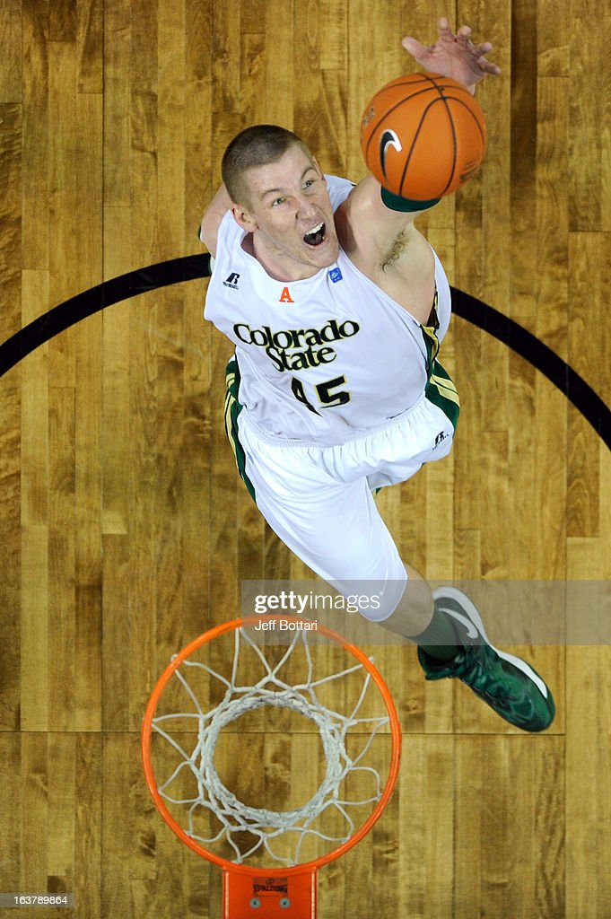 Colton Iverson #45 of the Colorado State Rams goes up for a rebound against the UNLV Rebels during the second half of a semifinal game of the Reese's Mountain West Conference Basketball tournament at the Thomas & Mack Center on March 15, 2013 in Las Vegas, Nevada. UNLV won 75-65.