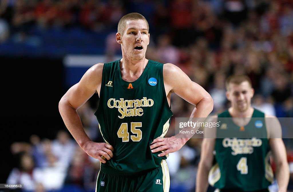 <a gi-track='captionPersonalityLinkClicked' href=/galleries/search?phrase=Colton+Iverson&family=editorial&specificpeople=5663882 ng-click='$event.stopPropagation()'>Colton Iverson</a> #45 of the Colorado State Rams looks on in the first half against the Louisville Cardinals during the third round of the 2013 NCAA Men's Basketball Tournament at Rupp Arena on March 23, 2013 in Lexington, Kentucky.