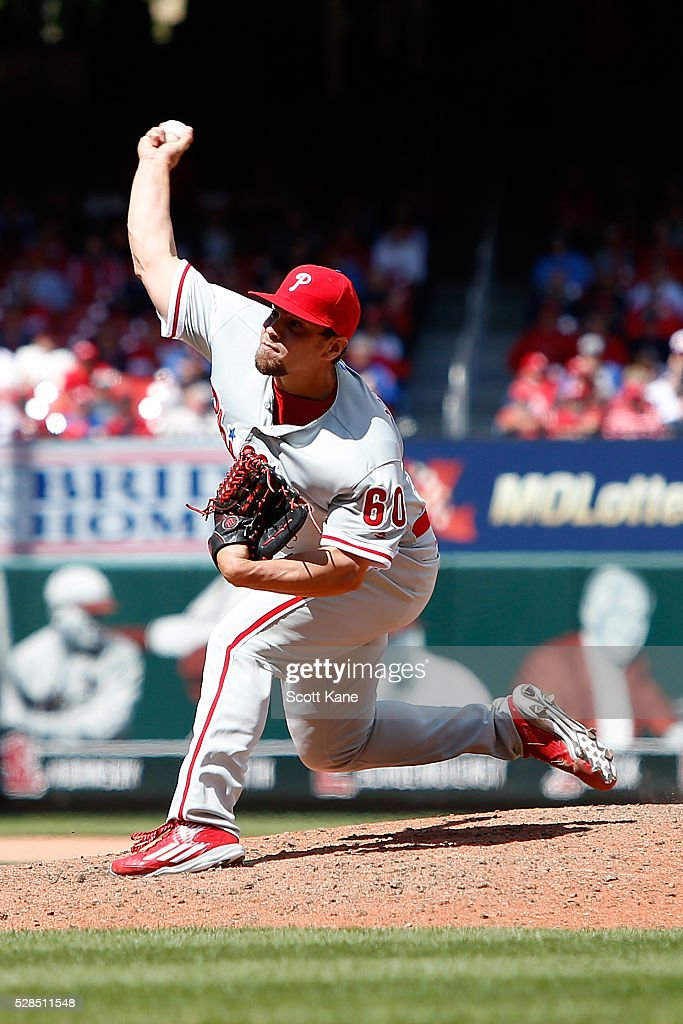 Colton Murray #60 of the Philadelphia Phillies pitches during the seventh inning against the St. Louis Cardinals at Busch Stadium on May 5, 2016 in St. Louis, Missouri.