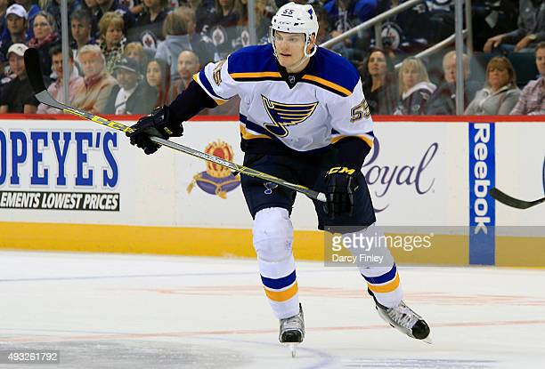 Colton Parayko of the St Louis Blues follows the play down the ice during first period action against the Winnipeg Jets at the MTS Centre on October...