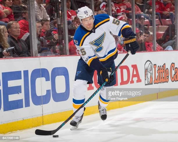 Colton Parayko of the St Louis Blues passes the puck against the Detroit Red Wings during an NHL game at Joe Louis Arena on February 15 2017 in...