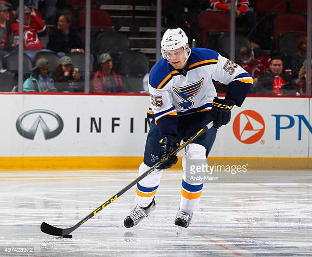 Colton Parayko of the St Louis Blues plays the puck against the New Jersey Devils during the game at the Prudential Center on November 10 2015 in...