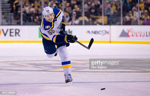 Colton Parayko of the St Louis Blues shoots the puck against the Boston Bruins during the second period at TD Garden on November 22 2016 in Boston...