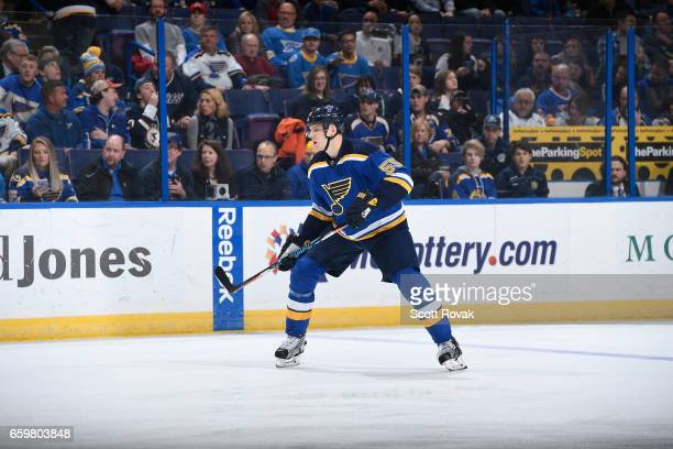 Colton Parayko of the St Louis Blues skates against the Arizona Coyotes on March 27 2017 at Scottrade Center in St Louis Missouri