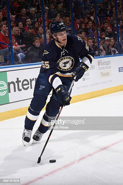 Colton Parayko of the St Louis Blues skates against the Chicago Blackhawks on November 1 2015 at Scottrade Center in St Louis Missouri