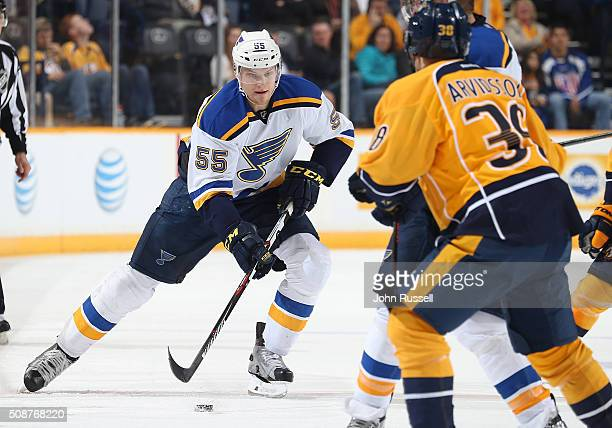 Colton Parayko of the St Louis Blues skates against the Nashville Predators during an NHL game at Bridgestone Arena on February 2 2016 in Nashville...