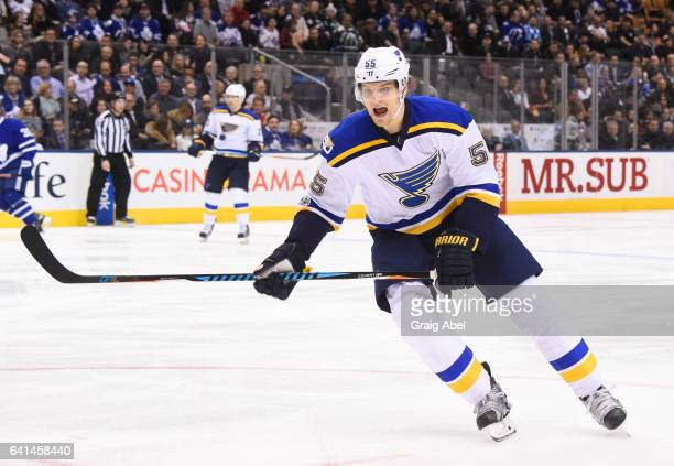 Colton Parayko of the St Louis Blues skates against the Toronto Maple Leafs during the second period at the Air Canada Centre on February 9 2017 in...