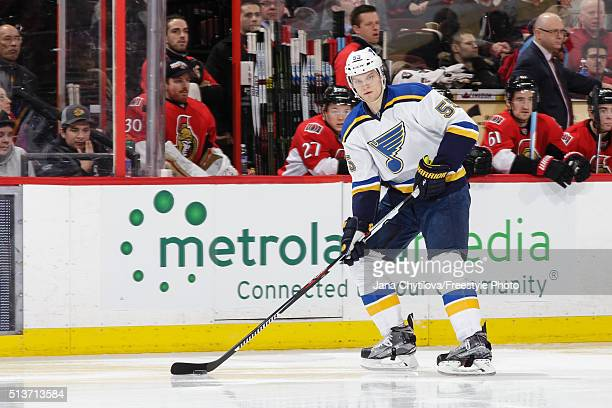 Colton Parayko of the St Louis Blues skates with the puck against the Ottawa Senators during an NHL game at Canadian Tire Centre on March 1 2016 in...