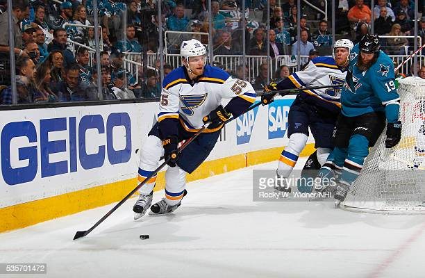 Colton Parayko of the St Louis Blues skates with the puck against the San Jose Sharks in Game Six of the Western Conference Finals during the 2016...