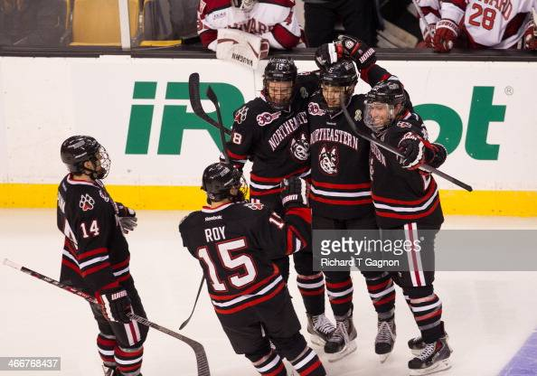 Colton Saucerman of the Northeastern University Huskies celebrates a goal with his teammates Kevin Roy Braden Pimm John Stevens and Matt Benning...
