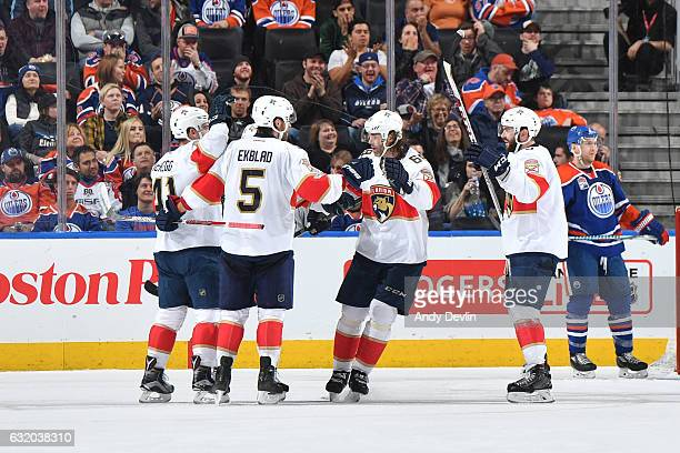 Colton Sceviour Gregg McKegg Aaron Ekblad and Jaromir Jagr of the Florida Panthers celebrate after a goal during the game against the Edmonton Oilers...