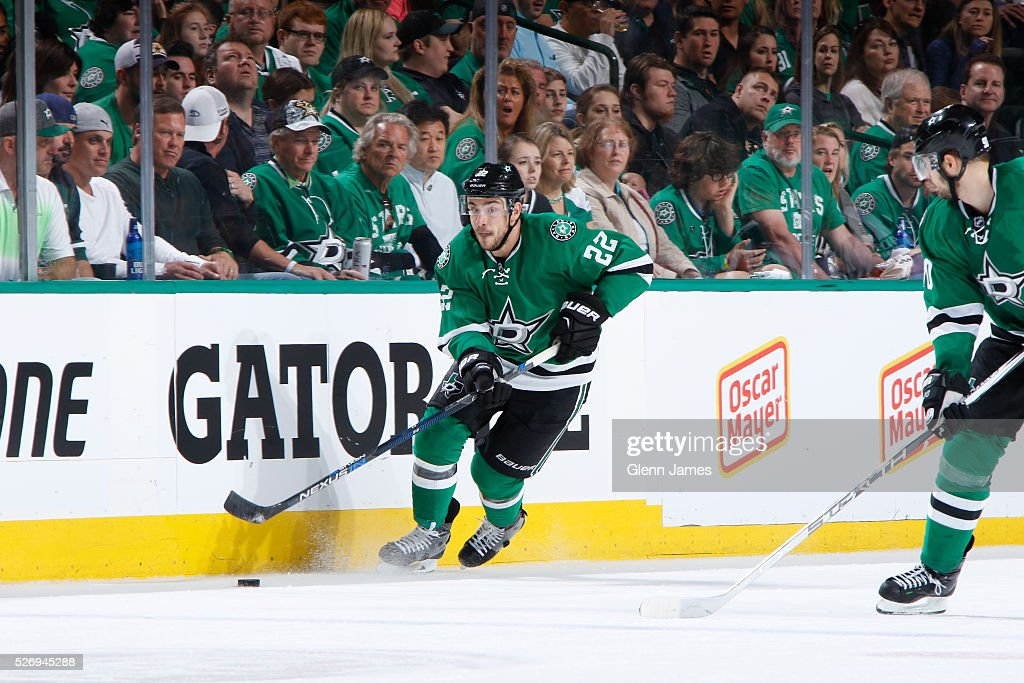 Colton Sceviour #22 of the Dallas Stars handles the puck against the St. Louis Blues in Game Two of the Western Conference Second Round during the 2016 NHL Stanley Cup Playoffs at the American Airlines Center on May 1, 2016 in Dallas, Texas.