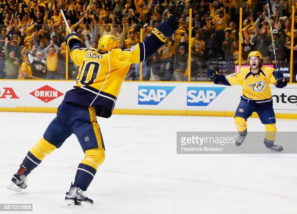 Colton Sissons celebrates a goal by Austin Watson of the Nashville Predators against the Anaheim Ducks during the first period in Game Six of the...