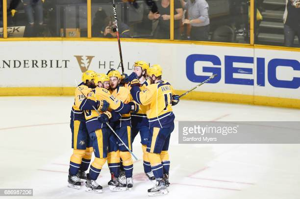 Colton Sissons of the Nashville Predators celebrates with teammates after scoring a goal against the Anaheim Ducks during the third period in Game...