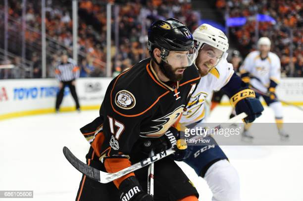Colton Sissons of the Nashville Predators checks Ryan Kesler of the Anaheim Ducks in the first period of Game Five of the Western Conference Final...