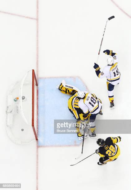 Colton Sissons of the Nashville Predators reacts after scoring a goal past Matt Murray of the Pittsburgh Penguins during the third period in Game One...