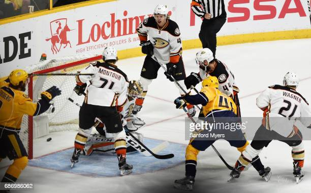 Colton Sissons of the Nashville Predators scores a goal against the defense of Jonathan Bernier of the Anaheim Ducks during the third period in Game...