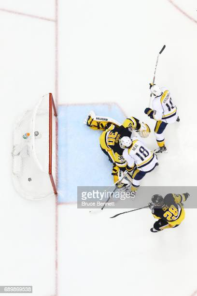 Colton Sissons of the Nashville Predators scores a goal past Matt Murray of the Pittsburgh Penguins during the third period in Game One of the 2017...