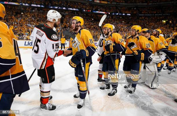 Colton Sissons of the Nashville Predators shakes hands with Ryan Getzlaf of the Anaheim Ducks after a 63 series win in Game Six of the Western...