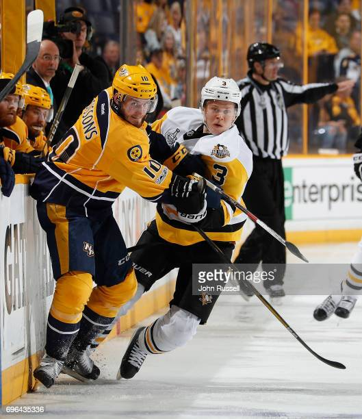 Colton Sissons of the Nashville Predators skates against Olli Maatta of the Pittsburgh Penguins during Game Six of the 2017 NHL Stanley Cup Final at...