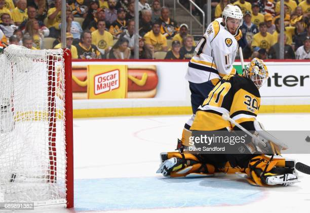 Colton Sissons watches as goaltender Matt Murray of the Pittsburgh Penguins allows a goal by PK Subban which was called back after a challenge by the...