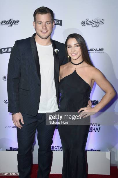 Colton Underwood and Aly Raisman attend Sports Illustrated Swimsuit 2017 NYC launch event at Center415 Event Space on February 16 2017 in New York...