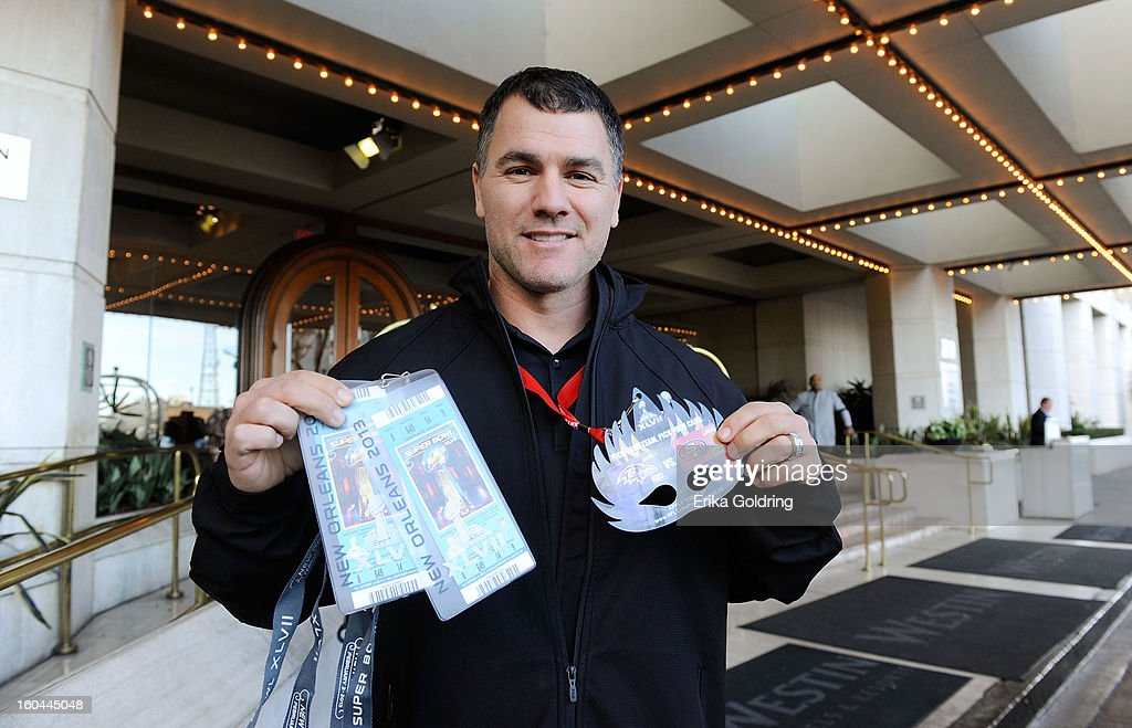 Colts placekicker Adam Vinatieri, a 4-time Super Bowl champion, prepares to award a pair of Super Bowl tickets to a lucky fan on behalf of Barclaycard US and the NFL Extra Points Credit Card on January 31, 2013 in New Orleans, Louisiana.