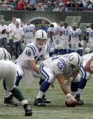 Colts quarterback Peyton Manning over center Jeff Saturday during the New York Jets 31 to 28 loss to the Indianapolis Colts on October 1 at Giants...