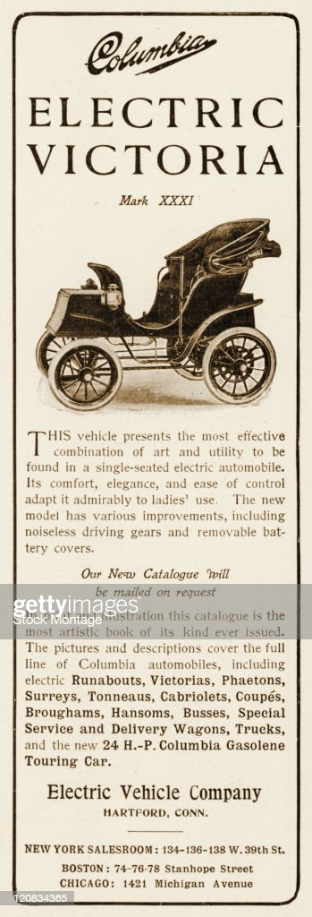 A Columbia electric Victoria Mark XXXI singleseat automobile is shown in a magazine advertisement from 1903 The ad says 'Its comfort elegance and...