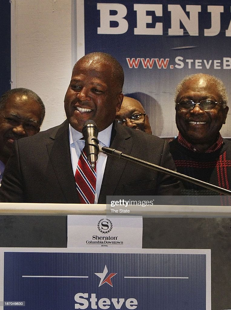 Columbia Mayor Steve Benjamin addresses the crowd that gathered at the Sheraton Convention Center to help celebrate his victory on Tuesday, November 5, 2013, in Columbia, South Carolina.