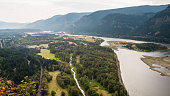 View of Columbia River Gorge, looking east from top of Beacon Rock, Vancouver, Washington