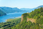 Looking down the Columbia River Gorge with Vista House visible on the hill