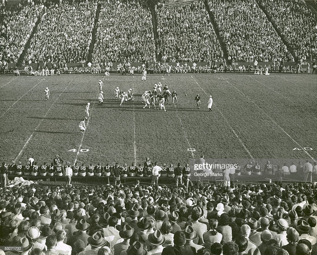 Columbia U football game in progress, Baker Field : Stock Photo