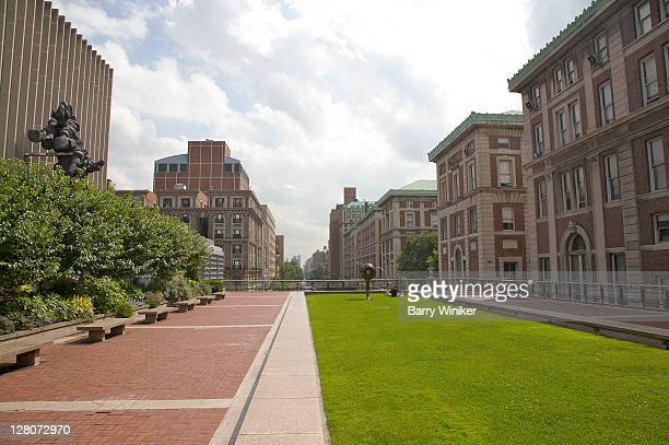 Columbia University campus, outdoor seating area over Amsterdam Avenue, New York, NY, U.S.A.