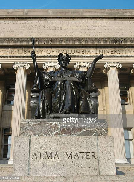 Columbia University in the City of New York Morningside Heights campus showing Alma Mater the bronze statue of Athena by Daniel Chester French on the...