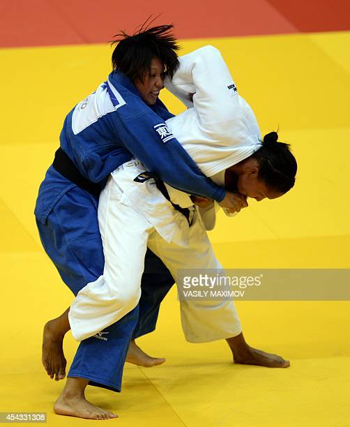 Columbia's judoka Yuri Alvear competes with Japan's Karen Nun Ira during the under 70 kg final at the IJF World Judo Championship in Chelyabinsk on...