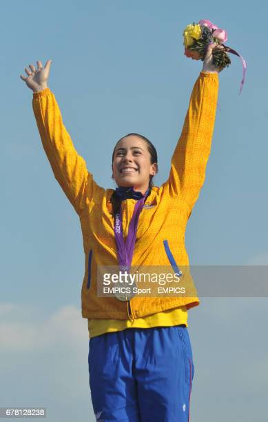 Columbia's Mariana Pajon celebrates gold in the BMX at the BMX track in the Olympic Park London