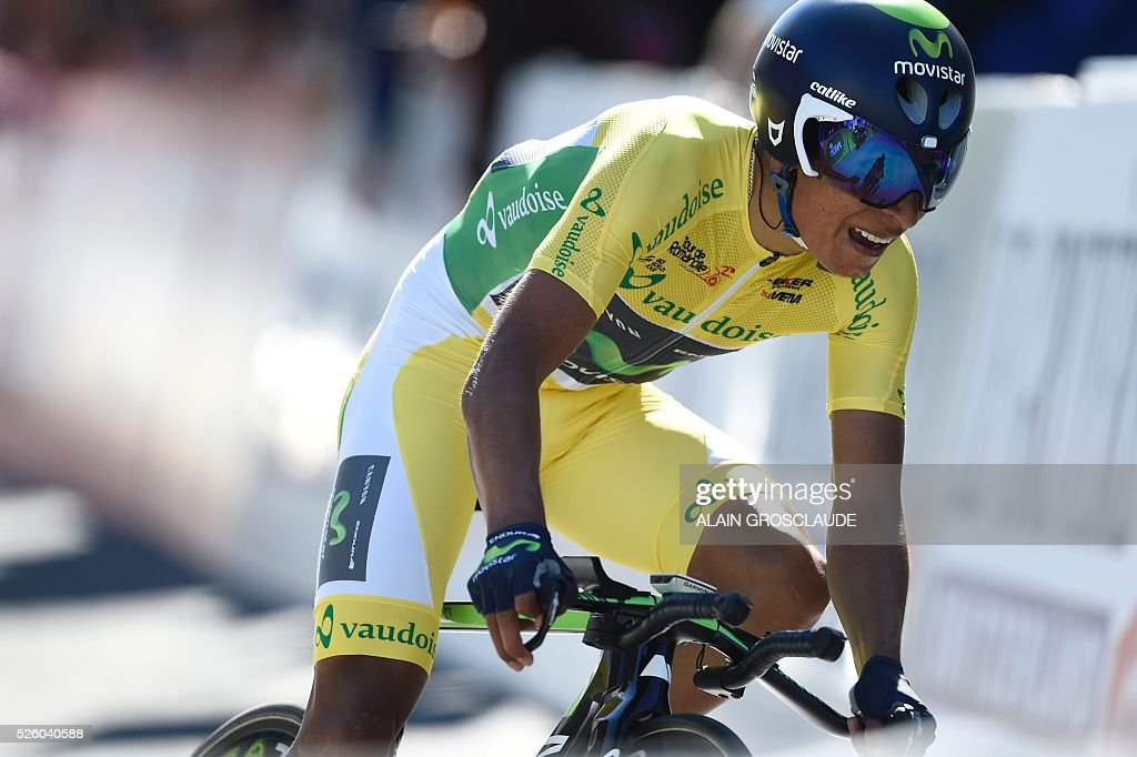 Columbia's Nairo Alexander Quintana of the Movistar Team competes in the fourth stage of the 70th Tour de Romandie UCI World Tour, a 15 km individual time-trial, in Sion on April 29, 2016, in Lausanne. / AFP / Alain Grosclaude