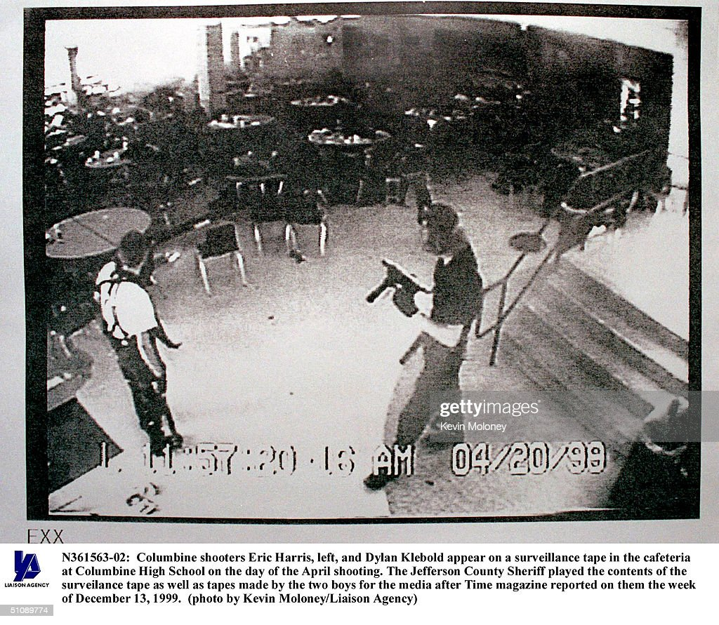 Columbine Shooters Eric Harris Left And Dylan Klebold Appear On A Surveillance Tape In The Cafeteria At Columbine High School On The Day Of The April...