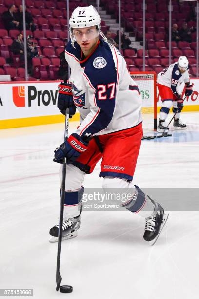 Columbus Blue Jackets defenceman Ryan Murray plays with the puck at warmup before the Columbus Blue Jackets versus the Montreal Canadiens game on...