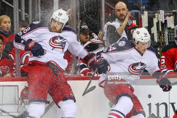 Columbus Blue Jackets defenseman David Savard collides with teammate Columbus Blue Jackets right wing Josh Anderson during the first period of the...